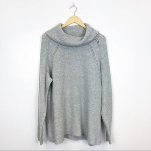 LANE BRYANT | Gray Wool Blend Cowl Neck Sweater